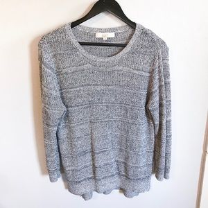 Women's LOFT light blue sweater.